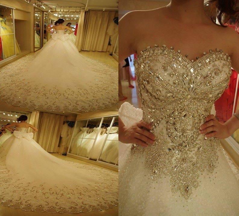 Plus Size Vestido De Novia Luxury Line Sweetheart Appliqued Beaded Crystal Sleeveless Big Train Wedding Dresses - Shining Girl store