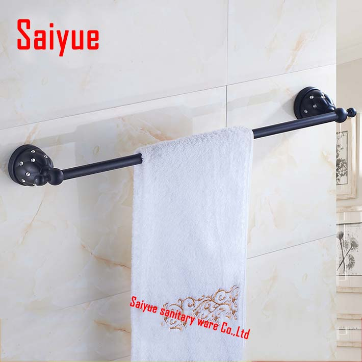 (60cm)Single Towel Bar Towel Holder crystal & zinc alloy made oil rubbed bronze Bathroom Products Bathroom Accessories square shaped stylish crystal zinc alloy stud earrings black bronze pair