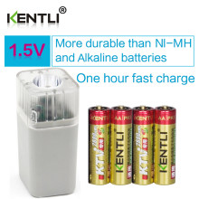4pcs KENTLI 1.5v 2800mWh Li-polymer li-ion lithium rechargeable AA battery + 4 slots Charger with LED Emergency flashlight(China)