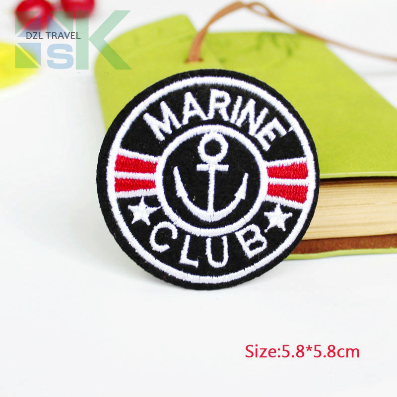 SK DIY Patches 5pcs Patch MARINE CLUB Kids clothes women motif applique ironing cloth embroidered patches for clothing