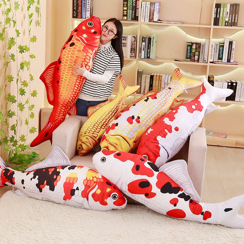 1pc 60cm Simulation Brocade Carp Plush Toy Stuffed Soft Cute Simulation Animal Fish Plush Pillow Sofa Cushion Birthday Gift
