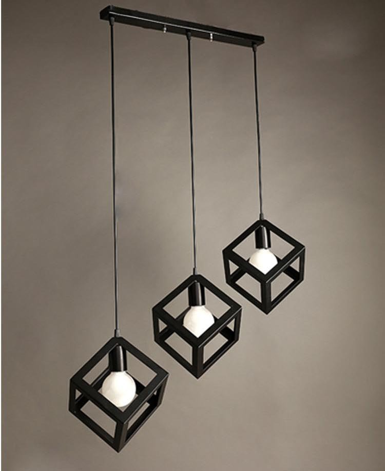 Nordic Creative American Style Wrought Black Iron Pendant Light - Black iron kitchen light fixtures