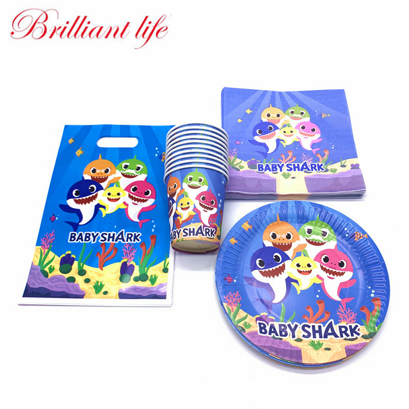80Pcs /Lot Baby Shark Theme Disposable Tableware Set Paper Plates Cups Napkins Gift Bags Child Birthday Party Decorations Supply80Pcs /Lot Baby Shark Theme Disposable Tableware Set Paper Plates Cups Napkins Gift Bags Child Birthday Party Decorations Supply