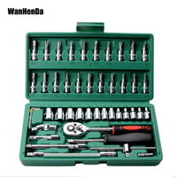 46pcs 1/4 Inch Socket Set Car Repair Tool Ratchet Set Torque Wrench Combination Bit a set of keys Chrome Vanadium Repairing Tool