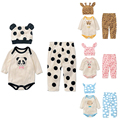 Baby Rompers Long Sleeve Cotton Baby Infant Cartoon Animal Newborn Baby Girl Clothes Romper+Hat+Pant 3pcs Clothing Set Baby Boys