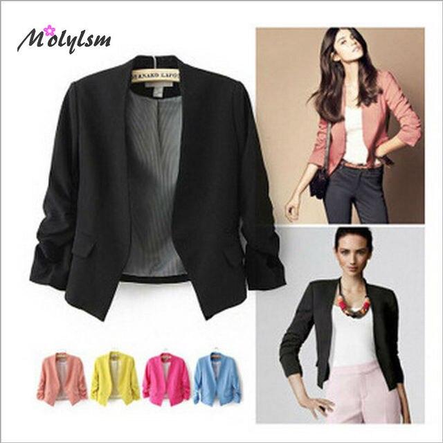 aed6ea5b4ba 2016 Spring Autumn Style Office Blazer Feminino Fashion Short Women s Blaser  Pink Elegant Suit Jacket