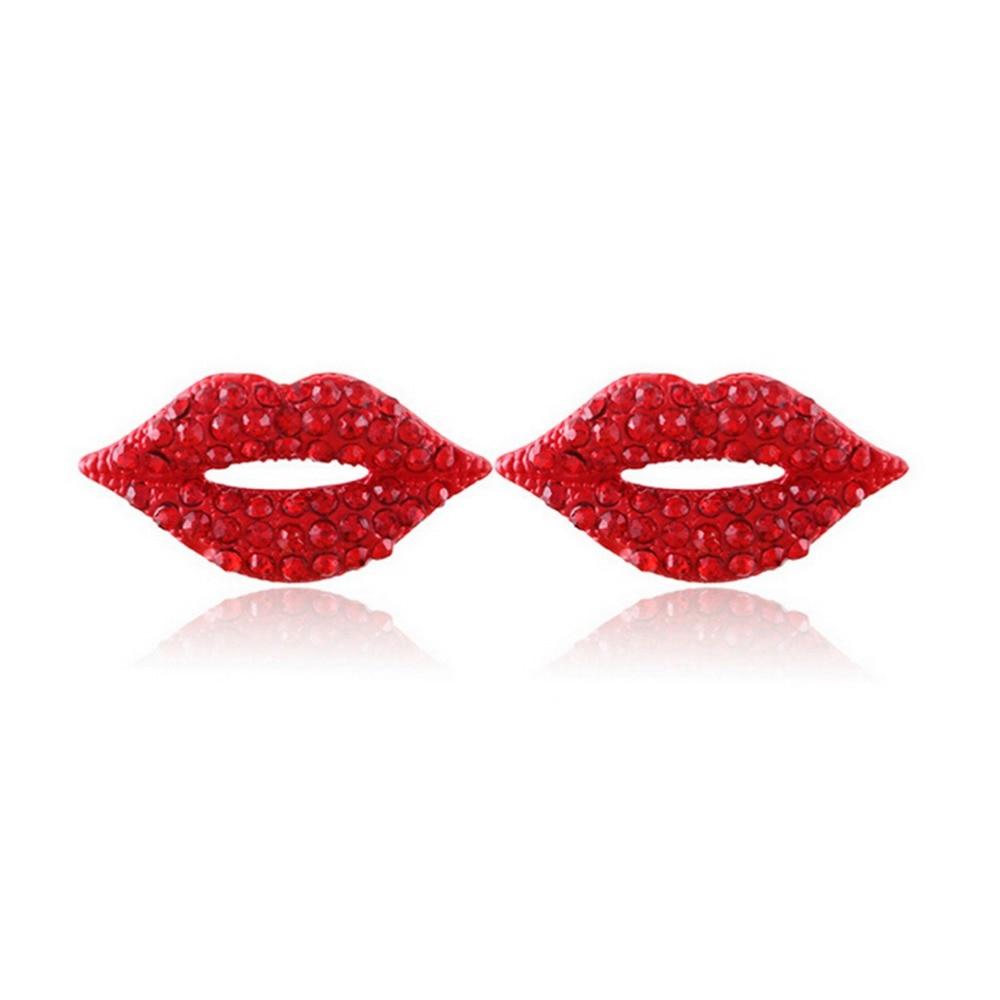 Sexy Red Lip Rhinestone Earrings For Women Jewelry 1pair Girl Classic  Luxurious Elegant Stud Earring High