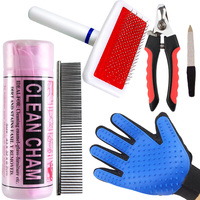 Pet Care Beauty Set Cat Dog Bathing Dog Hair To Comb Nail Scissors Comb Dog Grooming Cleaning Gloves Towel Pet Bath Set