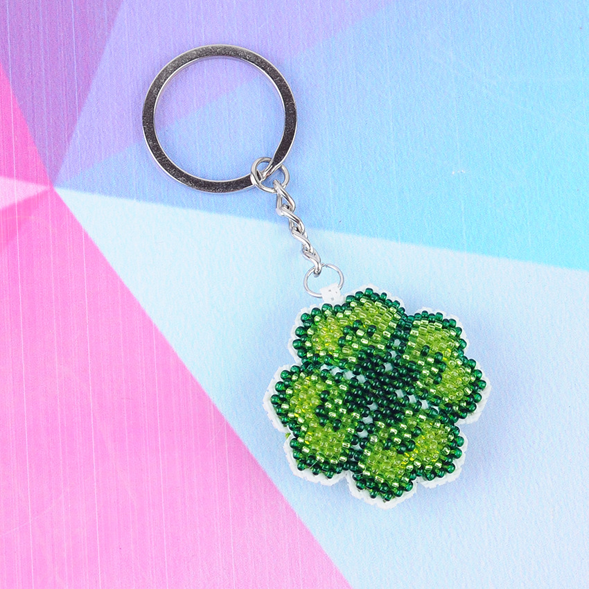 Hand-made Clover Beads Toys For Children Bead Embroidery Cross-stitch Key Chain Diy Bag Pendant Precision Printing New Girl Gift