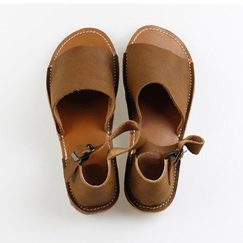 Delle Calzature Yaerni 100 Vera Basse Da Alla Donna Pelle Signore Sandali Caviglia Di Estate Cinturino Scarpe Brown ZZqgx7w