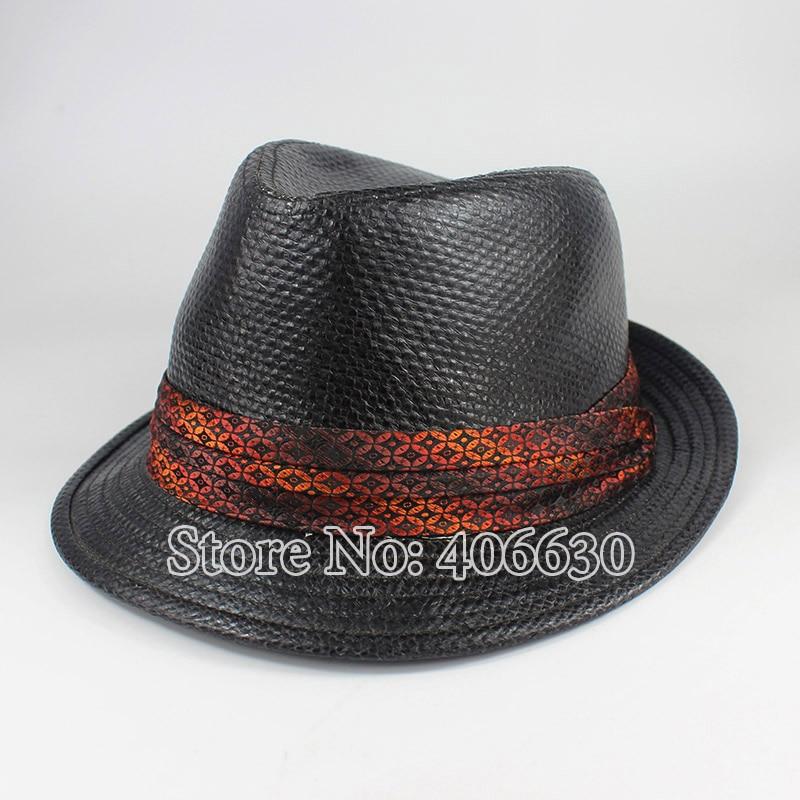 Летняя Черная Мужская рафия соломенная шляпа Федора Панама модная мягкая фетровая шляпа в джазовом стиле шапки PGFE042 - Цвет: black
