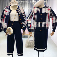 Women 2 Pieces Knitted Sets Knitted Sweater Striped Cardigans+Pants Suits women