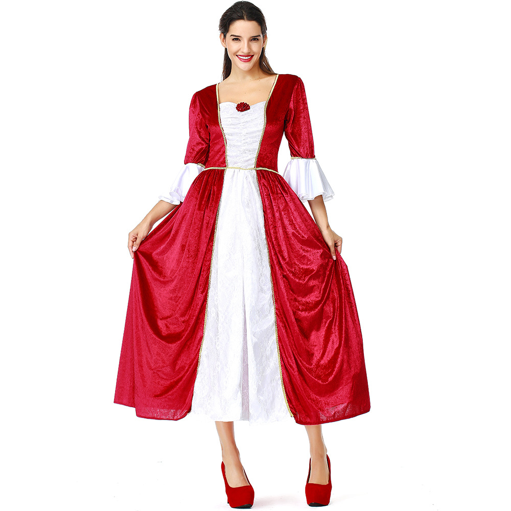 Women Red Marie Antoinette Vintage Dress Medieval Renaissance Costume Victorian Court Princess Dress Antique Prom Halloween Dres