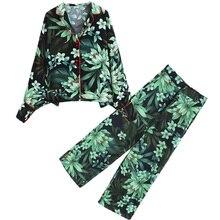 Pajamas printing and wind kimono shirt type jacket wide tube pants high waist wide leg pants suit