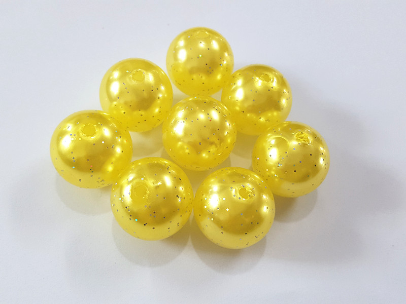 (Choose Size First) 10mm/12mm/20mm  Yellow  Glitter Effect Acrylic  Pearl  Beads(Choose Size First) 10mm/12mm/20mm  Yellow  Glitter Effect Acrylic  Pearl  Beads