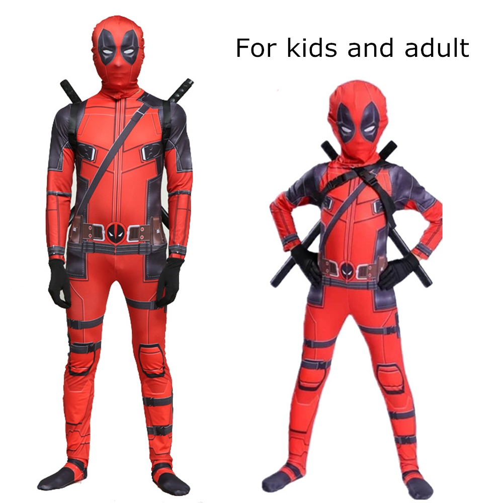 Superhero Cosplay Suit Children Deadpool Costume, Halloween Costume for Kids, Boys Party Cosplay Disfraces Carnival, Adult Kids