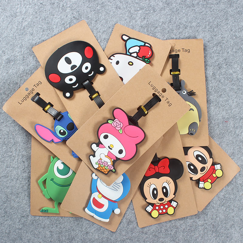 Cute Lilo Stitc Creative Luggage Travel AccessoriesTag Silica Gel Suitcase ID Addres Holder Baggage Boarding Tag Portable Label