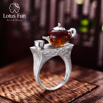 925 Sterling Silver Natural Amber Teapot Ring