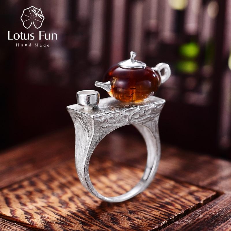 Lotus Spaß Echt 925 Sterling Silber Natürliche Bernstein Original Handgemachtes Feine Schmuck Vintage Ring Nette Teekanne Ringe für Frauen Bijoux