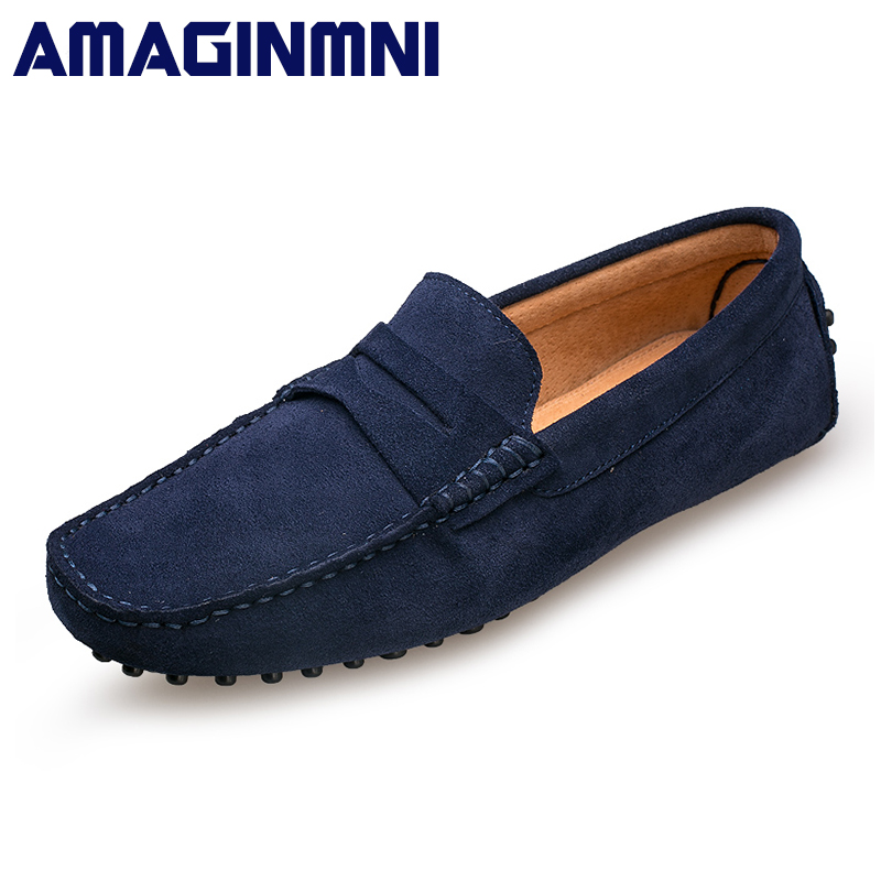 AMAGINMNI 2017 Men Casual shoes Cow Suede Leather Loafers Leather Driving Moccasins Slip on Shoes Men Comfortable and breathable top brand high quality genuine leather casual men shoes cow suede comfortable loafers soft breathable shoes men flats warm