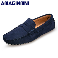 AMAGINMNI 2018 Men Casual Shoes Cow Suede Leather Loafers Leather Driving Moccasins Slip On Shoes Men