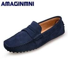 AMAGINMNI 2018 Для мужчин повседневная обувь замшевые кожаные мокасины Кожаные Мокасины для вождения обувь без шнуровки Для мужчин удобная и дышащая