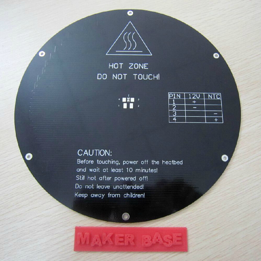 3 D printer parts Reprap Delta rostock MK3 MCPCB heat bed round 220mm 3 mm thick 12V 120W