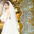 White Ivory Lace Cathedral Wedding Veils Bridal Crystals Long Veils For Wedding Dresses Accessories Veu De Noiva longo