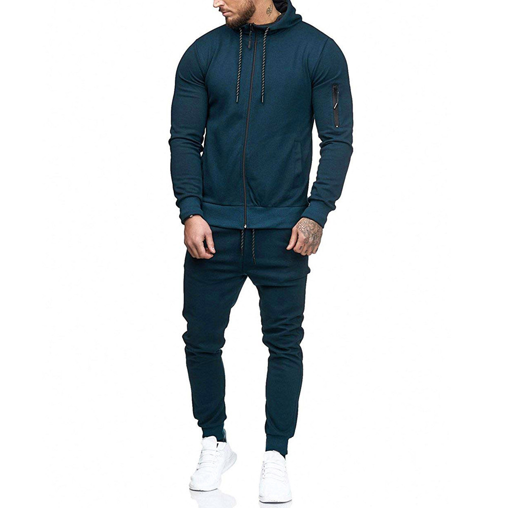 HTB1WaVHKpuWBuNjSszbq6AS7FXa6 2019 fashion Patchwork Zipper Sweatshirt Top Pants Sets Sports Suit solid color slim Tracksuit High Quality Pullover clothing