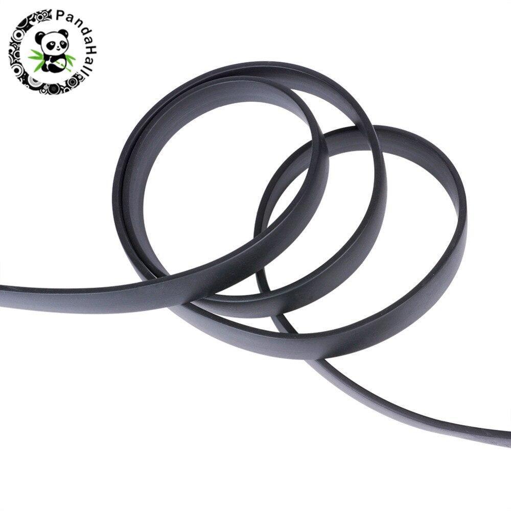 Zwarte Platte Synthetische Rubber Koord voor Sieraden Maken DIY over 6x2mm 2000 g/partij-in Sieraden bevindingen & Componenten van Sieraden & accessoires op  Groep 1