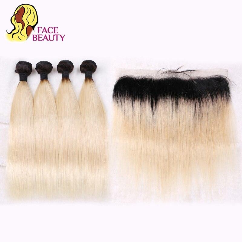 Facebeauty 1B 613 русый Ombre бразильский прямые волосы Связки с закрытием 2 тона человеческих волос уток 4 Связки с фронтальные