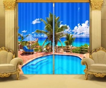 Sea coconut trees Fantastic 3D Photo Printing Blackout Curtains For Living room Bedding room Hotel/Office Drapes Cortinas para