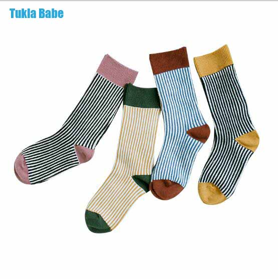 Combed cotton kids stockings spring autumn children vertical strip color matching Luokou stockings 1