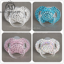 MIYOCAR Special price 4 color shining bling crystal rhinestone Baby Pacifier/ Nipples /Dummy /cocka /chupeta &pacifier clips