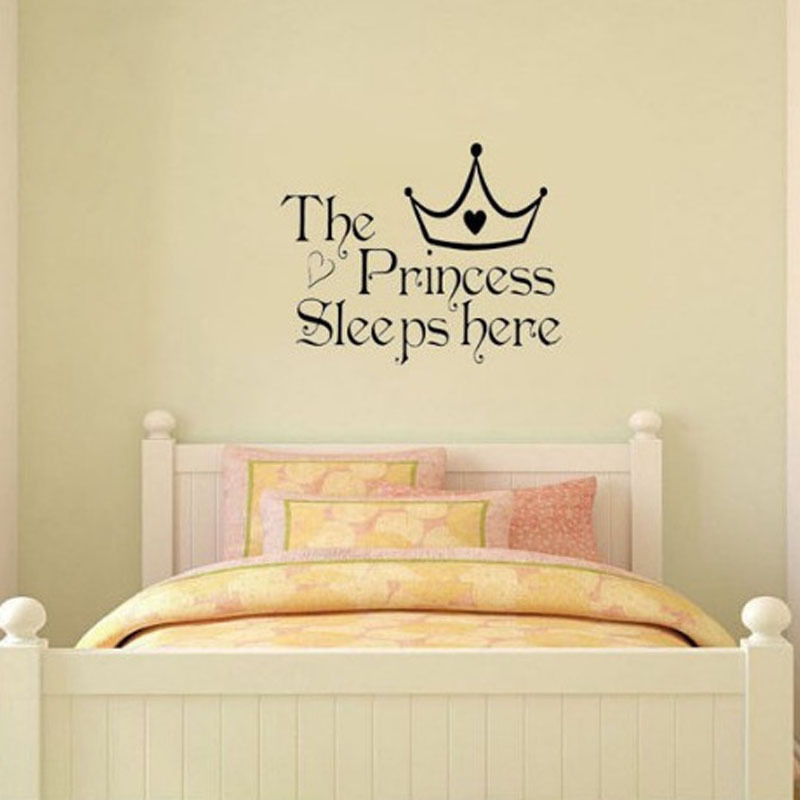 The Princess Sleeps Here Home Decor Room Wall Sticker Wallpaper Art ...