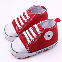 Canvas five – pointed star pattern lace toddler shoes boys and girls learning first walking shoes soft bottom xz69