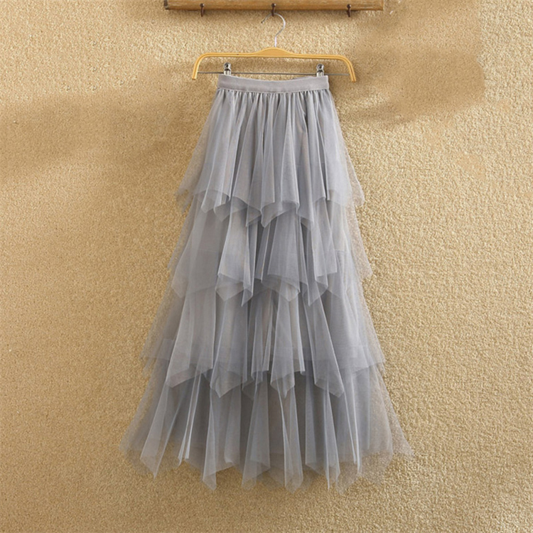 Women irregular Tulle Skirts Fashion Elastic High Waist Mesh Tutu Skirt Pleated Long Skirts Midi Skirt Saias Faldas Jupe Femmle 36