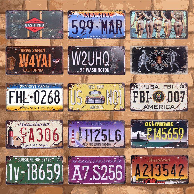 Placas para automóviles americanos, placa de licencia de ee.uu. Placa de garaje, cartel de Metal, cartel de estaño, decoración Vintage para el hogar, 15x30CM C9 BOTIMI, luces de techo LED de diseñador nórdico con pantallas de lámparas de Metal redondas blancas, decoración artística gris, lámparas de dormitorio montadas en el techo