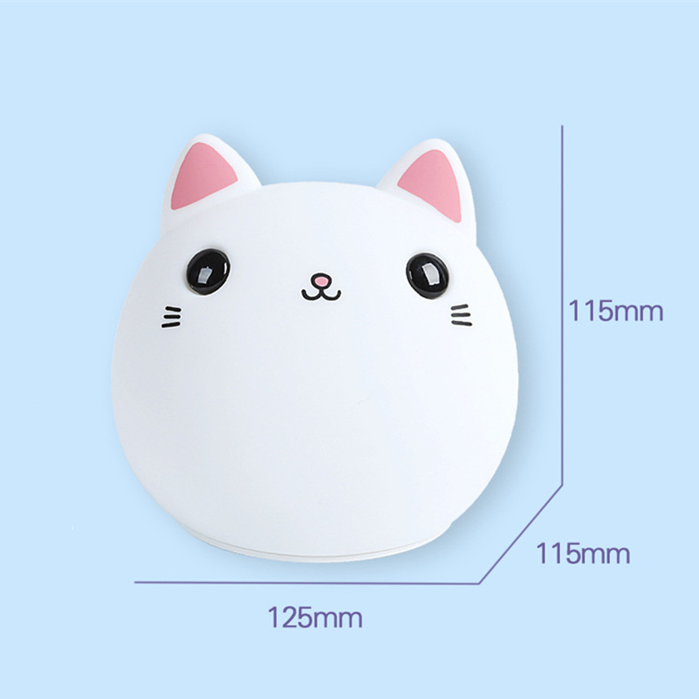 SuperNight Cute Cartoon Cat LED Night Light Silicone Rechargeable Touch Tap Kids Baby Bedroom Bedside Warm Colorful Table Lamp (5)