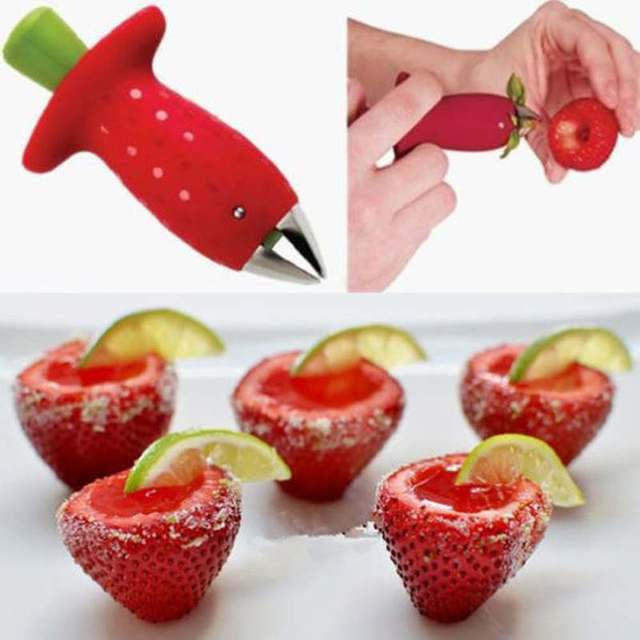 1pc Strawberry Tomatoes Stem Huller Remover Fruit Vegetable Creative Kitchen  Accessories DIY Tools Free Shipping