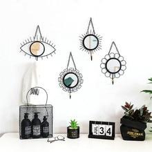 Espejo geométrico nórdico pared dorada espejos colgantes ganchos baño señora maquillaje ojo flor Vintage decoración del hogar Accesorios