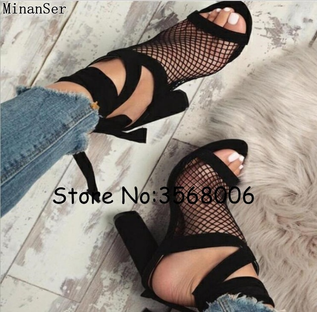 13d14d6d495 Peep Toe Suede Black Mesh Gladiator Sandals Tie Up Rome Designed Women  Chunky Heels Sandals Shoes Sexy Ankle Wrap High Heels