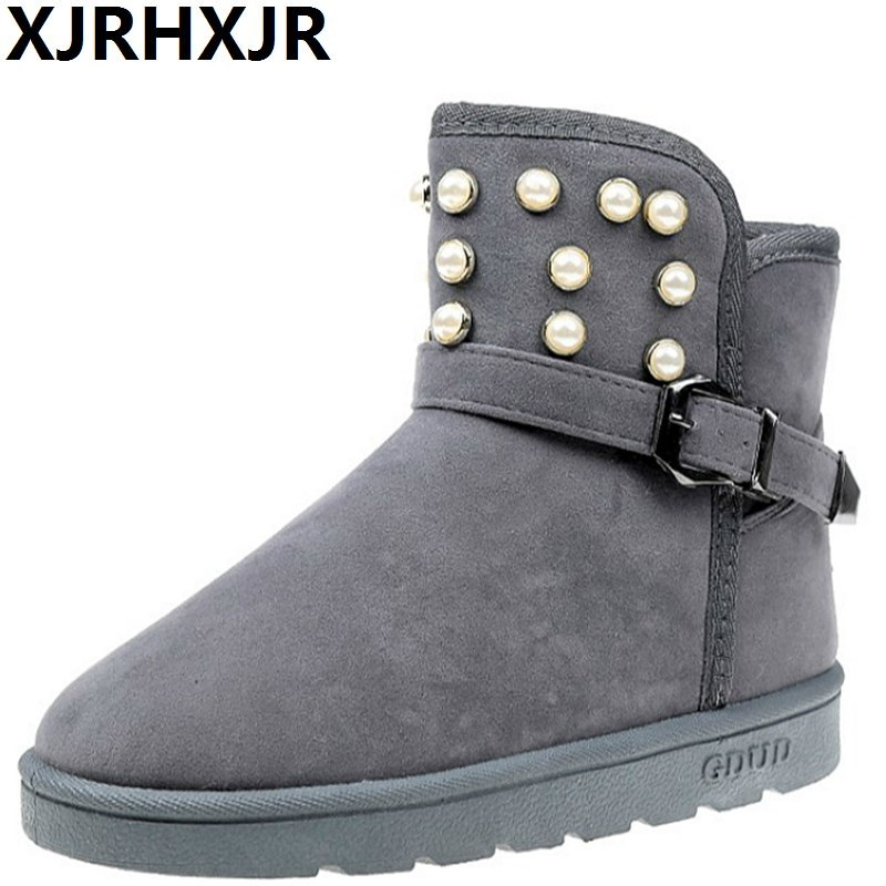 XJRHXJR Fur Winter Snow Boots Women Brand Design Pearls Platform Ankle Boots Soft Plush Warm Shoes Soman Comfortable Casual Flat genuine leather flat ankle snow boots women waterproof winter shoes keep warm plush fur leather brand platform adult thickening