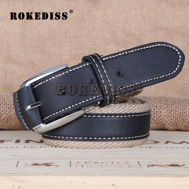 Men The New 2017 canvas alloy Buckle jeans Waistband Men's fashion Leisure Leather belt male Waistband Multi-color belt F057
