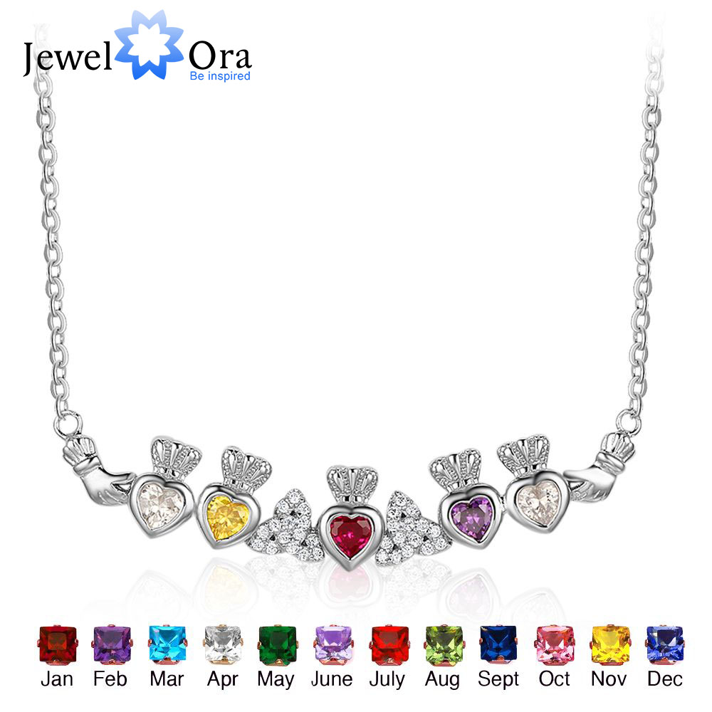 925 Sterling Silver Claddagh Necklace&Pendants 5 Heart Customized Stones Necklace Irish Loyalty Symbol JewelOraNE101907 e loyalty
