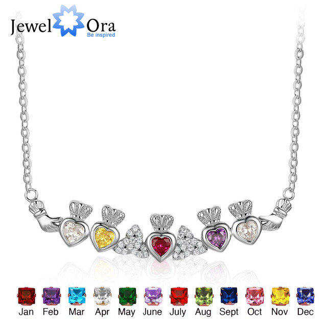 925 Sterling Silver Claddagh Necklace&Pendants 5 Heart Customized  Stones Necklace Irish Loyalty Symbol JewelOraNE101907
