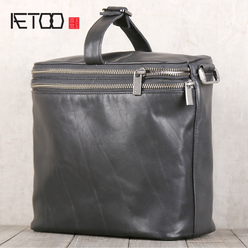AETOO Head cowhide single shoulder oblique cross bag bag travel leisure storage bag men and womenAETOO Head cowhide single shoulder oblique cross bag bag travel leisure storage bag men and women