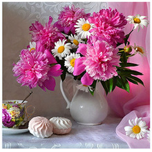 diy 5d diamond painting cross stitch flower round  mosaic picture vase home decor embroidered floral