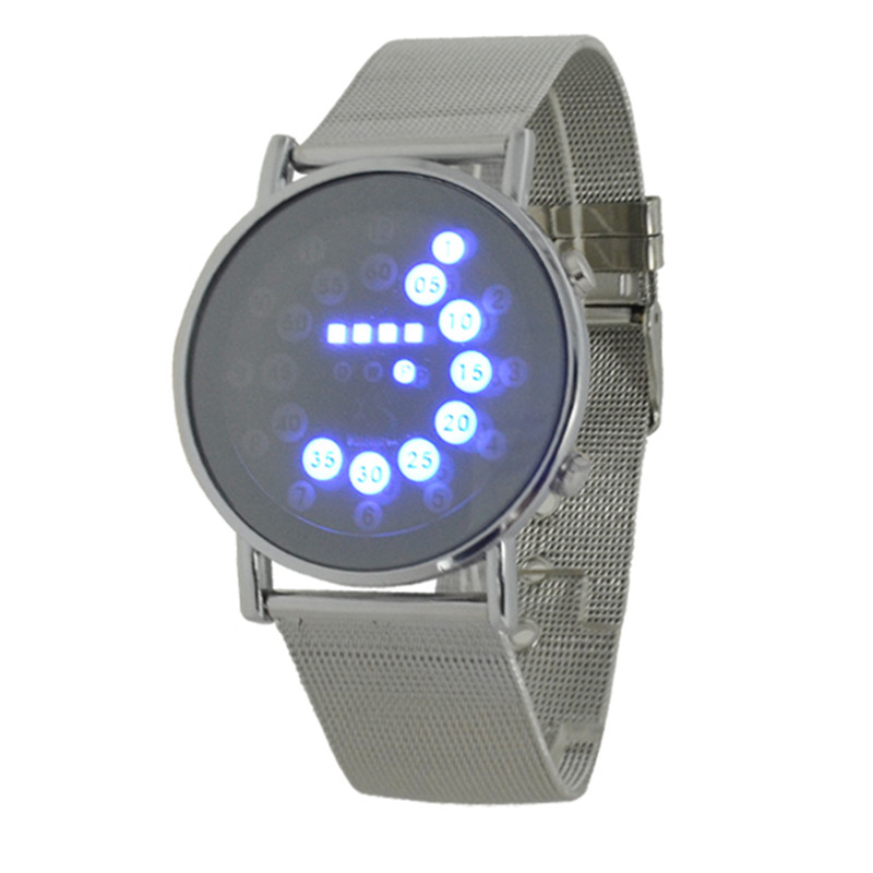 2016 hot mens sports blue multi led lights ball display silver mesh stainless steel band digital