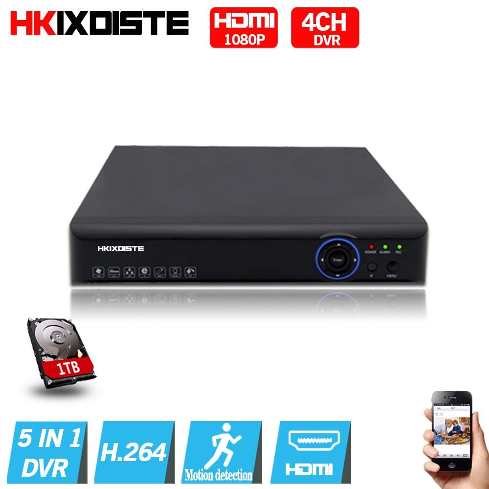 5 in 1 Security CCTV DVR 4CH  AHD 1080N  H.264 Hybrid Video Recorder for AHD TVI CVI Analog IP Camera Onvif HDMI 1080P output